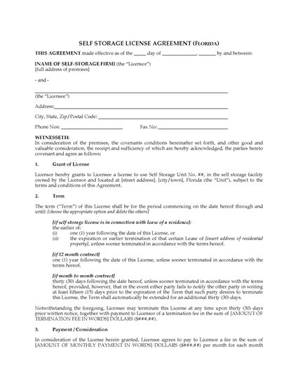 Picture of Florida Self Storage License Agreement