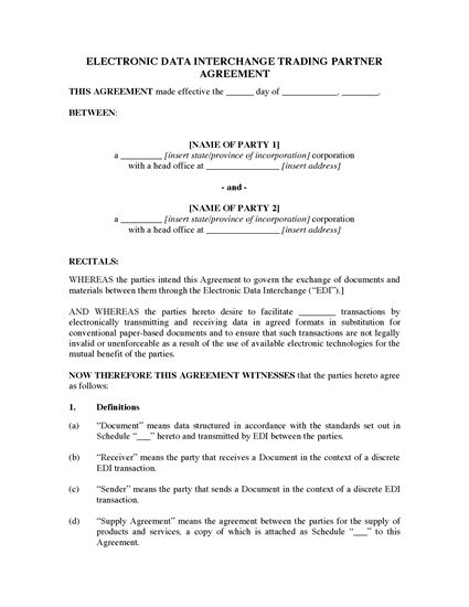 Picture of USA Electronic Data Interchange Agreement