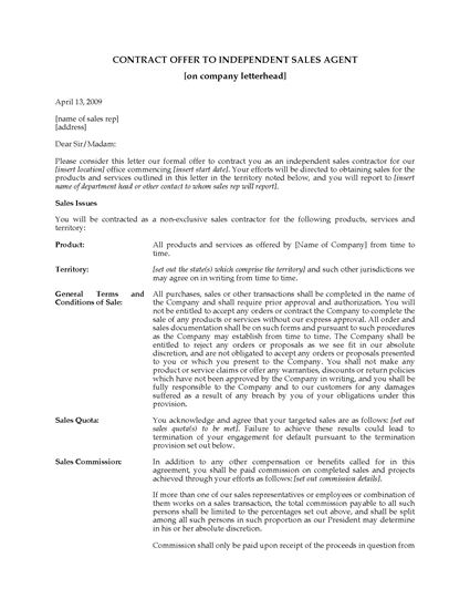 Picture of Contract Offer to Independent Sales Agent | USA