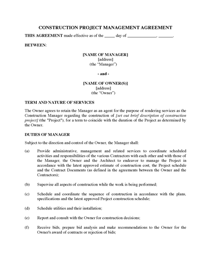 Picture of Construction Project Management Agreement | USA