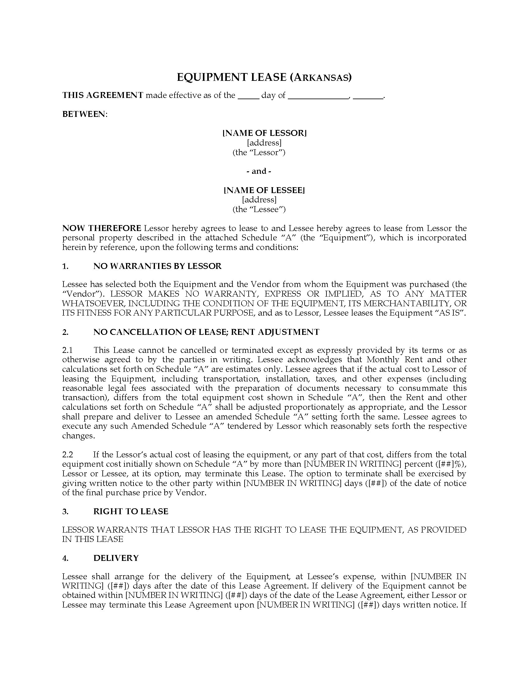 Arkansas Equipment Lease Agreement Legal Forms And Business