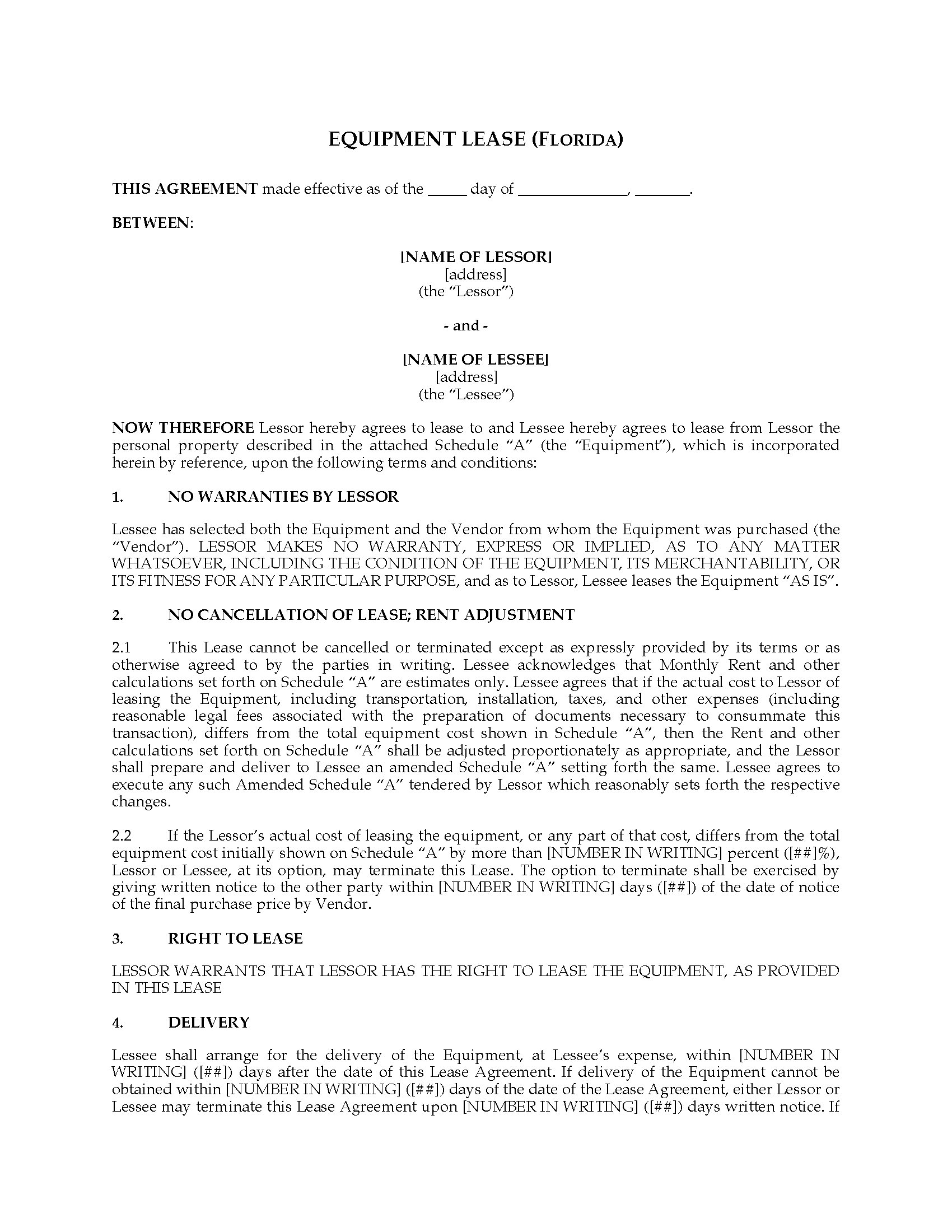 Florida Equipment Lease Agreement Legal Forms And Business