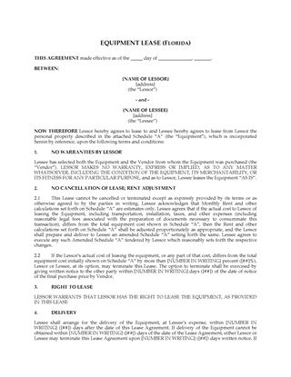 Picture of Florida Equipment Lease Agreement