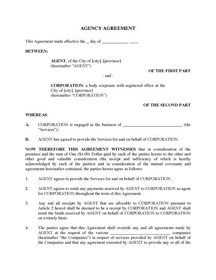 Picture of Agency Agreement | Canada