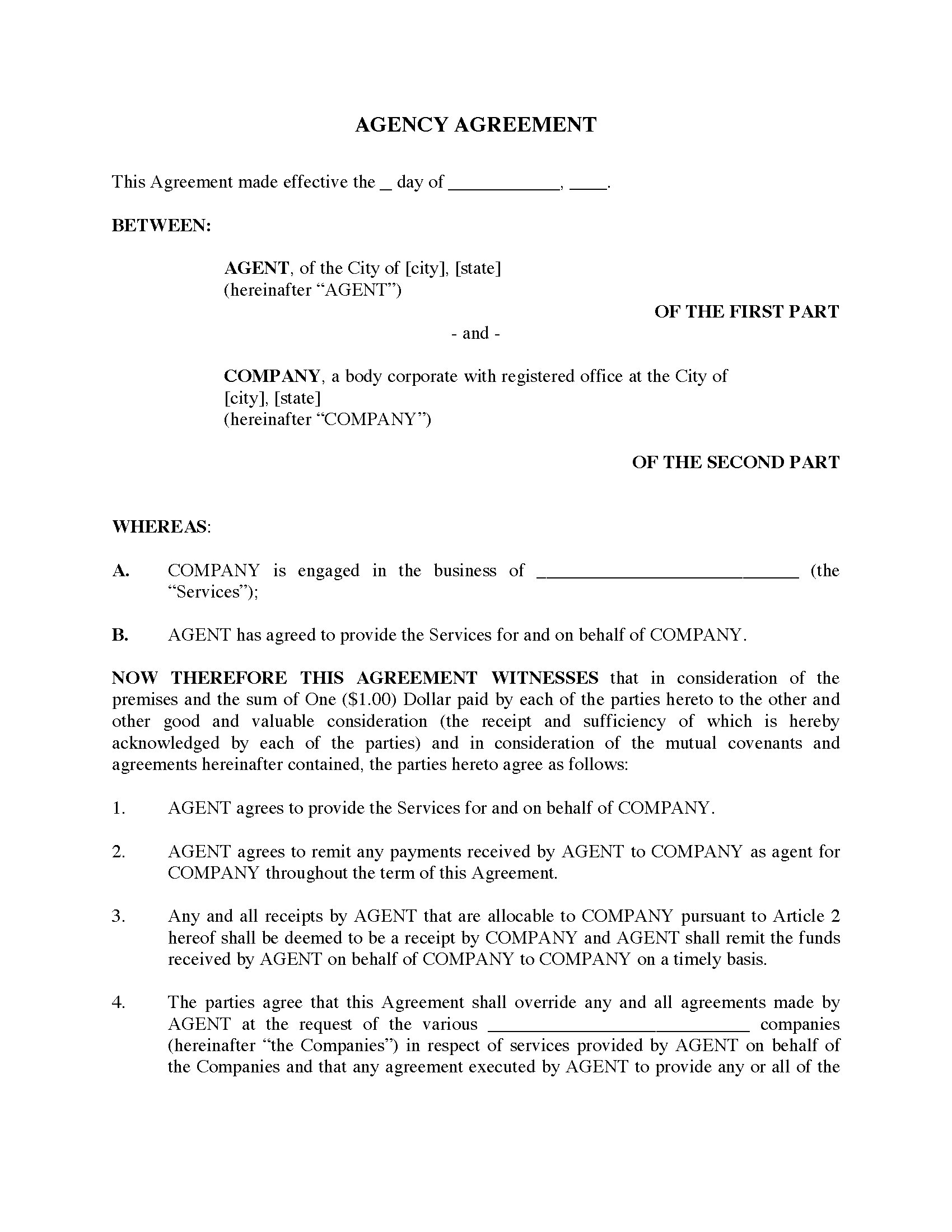 USA Agency Agreement - domestic | Legal Forms and Business Templates ...