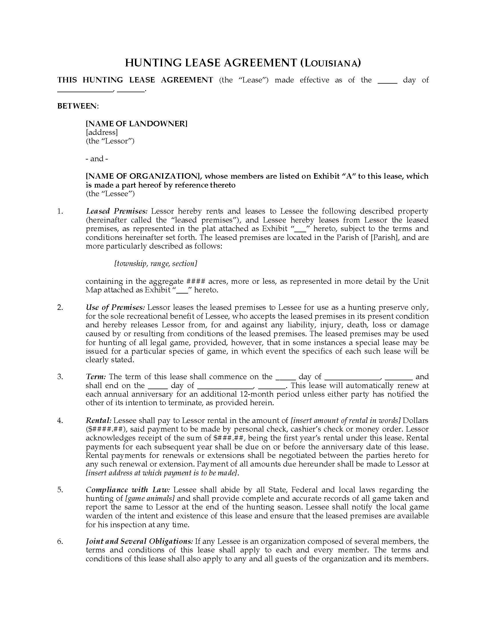 Louisiana Hunting Lease Agreement Legal Forms And Business
