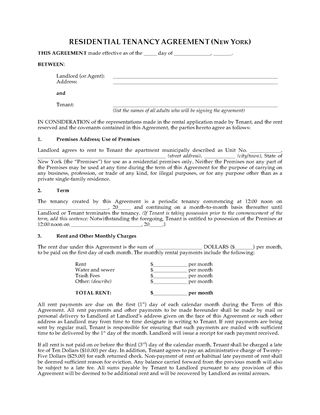 Picture of New York Apartment Rental Agreement