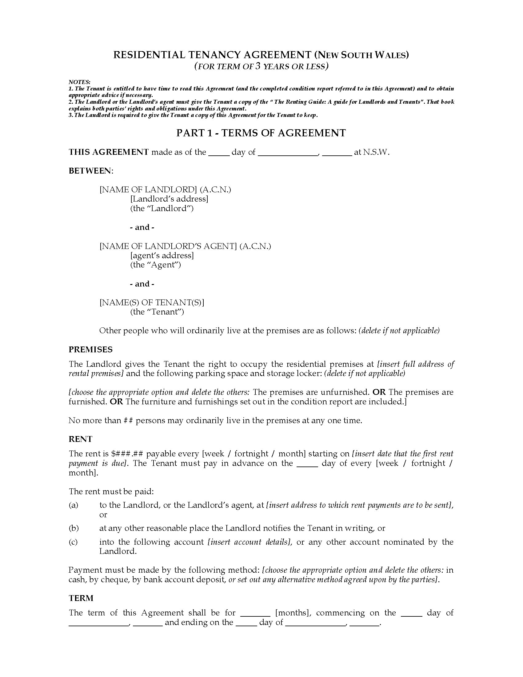 Nsw Residential Tenancy Agreement 3 Years Or Less Legal Forms