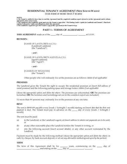 Picture of NSW Residential Tenancy Agreement (More than 3 Years)