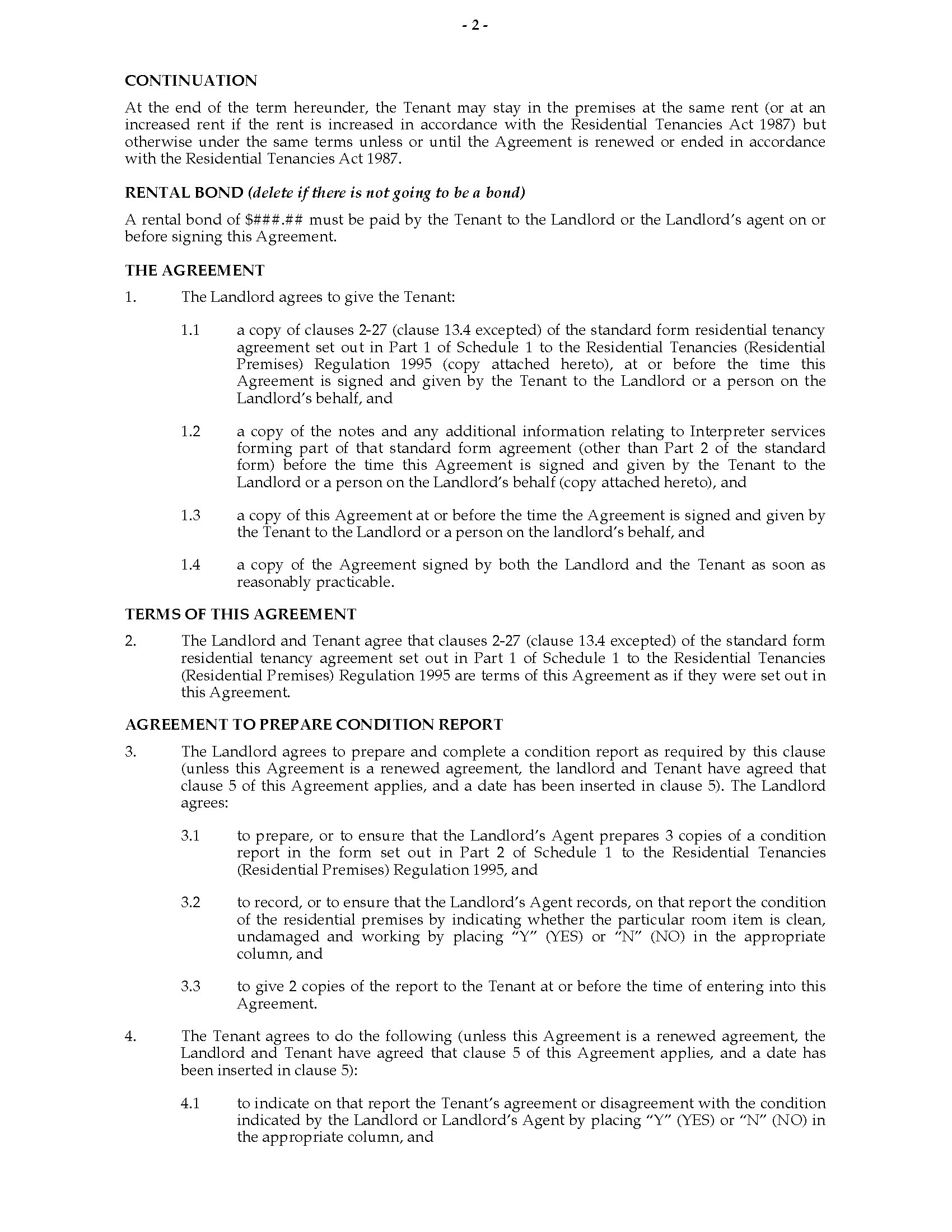 Nsw Residential Tenancy Agreement More Than 3 Years Legal Forms