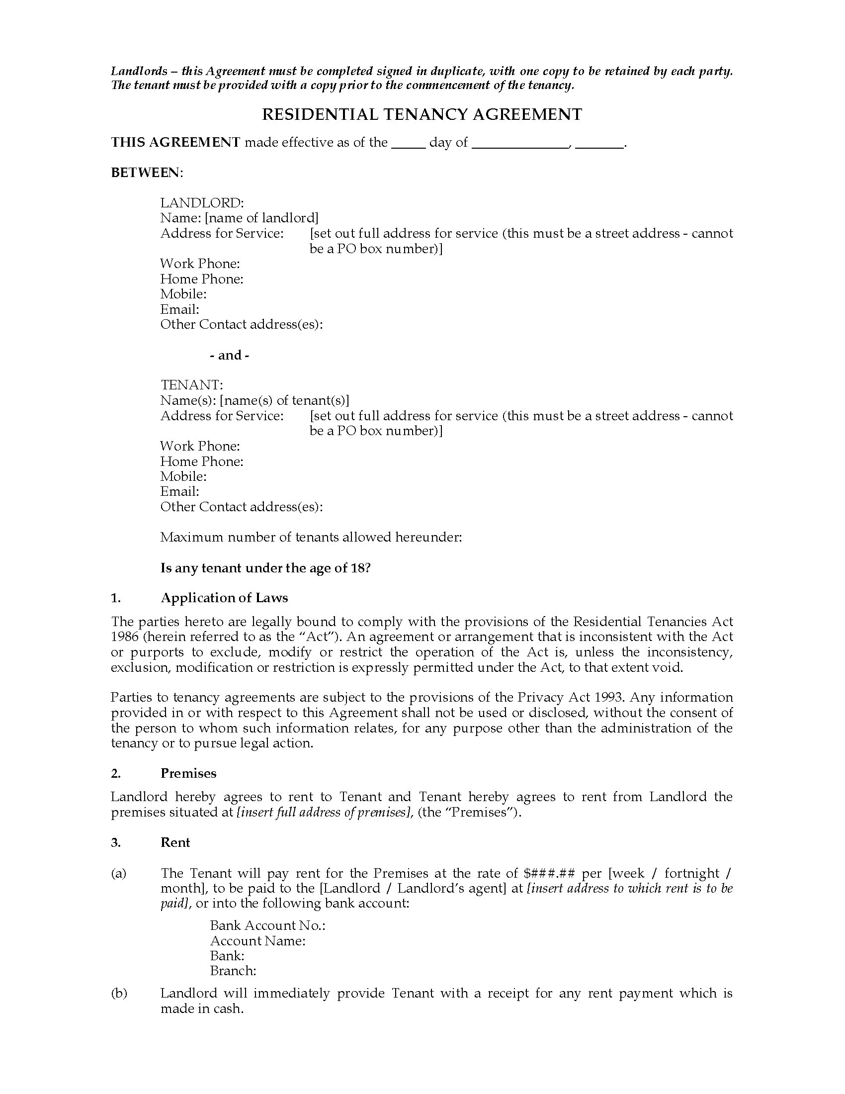 New Zealand Residential Tenancy Agreement Legal Forms And Business