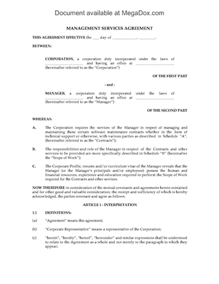 Picture of Support Services Management Agreement