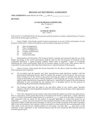 Picture of Broadcast Recording Agreement for TV or Radio Program | Canada