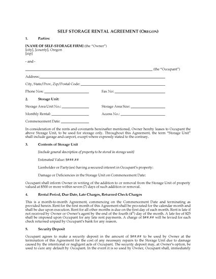Picture of Oregon Self Storage Lease Agreement