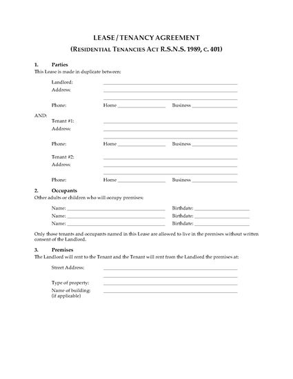 Picture of Nova Scotia Residential Lease / Tenancy Agreement
