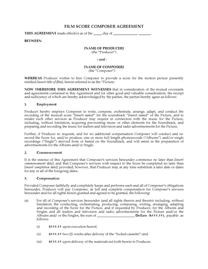 Picture of Film Score Composer Agreement (Work for Hire)