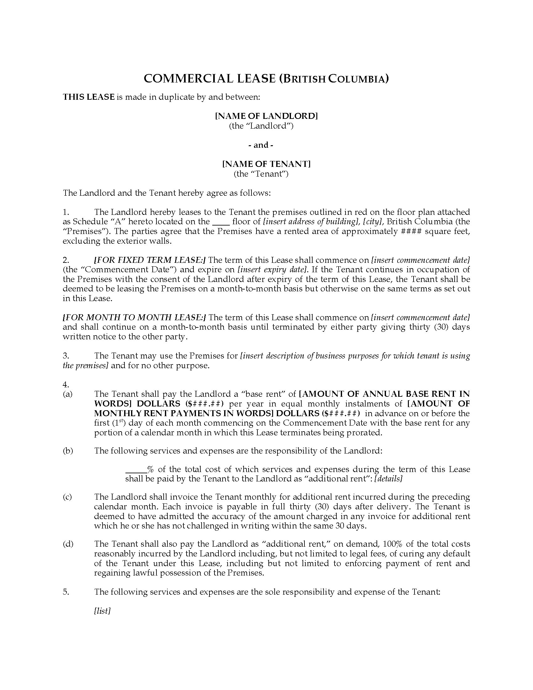 British Columbia Commercial Lease Agreement For Fixed Or Monthly