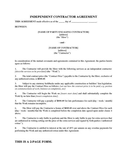 Picture of Construction Contractor Agreement with Late Completion Penalty