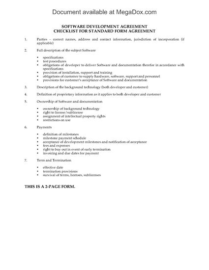 Picture of Software Development Agreement Checklist