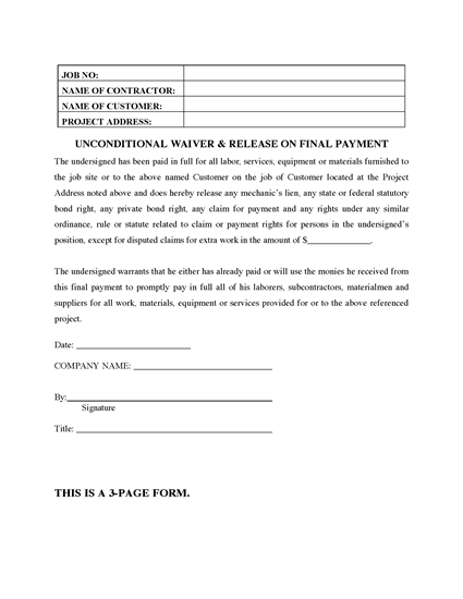 Picture of Arizona Unconditional Waiver and Release of Lien on Final Payment