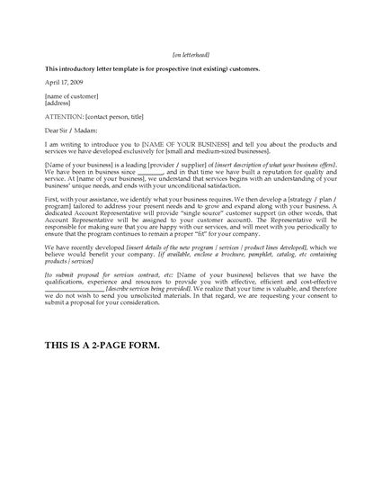 Picture of Introductory Business Letter Templates