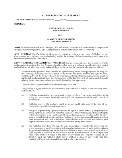 Picture of Music Sub-Publishing Agreement