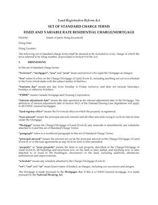 Picture of Ontario Standard Terms for Fixed and Variable Rate Residential Mortgage