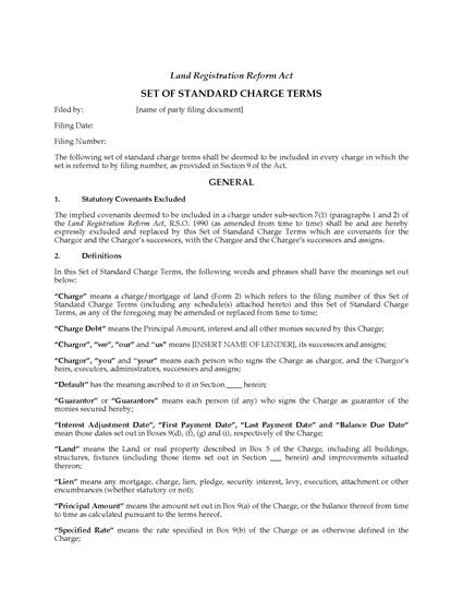Picture of Ontario Standard Terms for Straight Charge / Mortgage