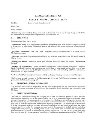 Picture of Ontario Standard Terms for Commercial Collateral Mortgage