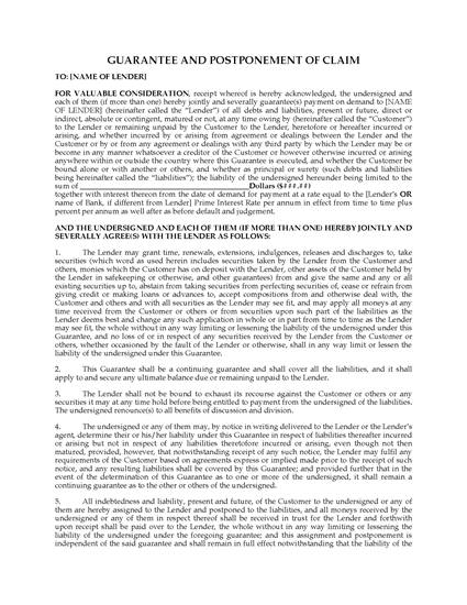 Picture of Ontario Guarantee and Postponement of Claim