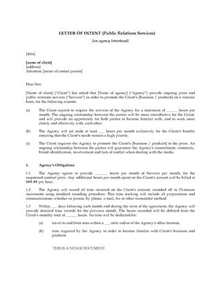 Picture of Letter of Intent to Hire Public Relations Firm