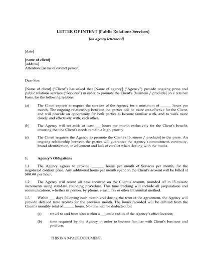 Letter of intent to hire public relations firm legal for Letter of intent to hire template