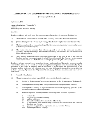 Picture of Letter of Intent for Research and Development