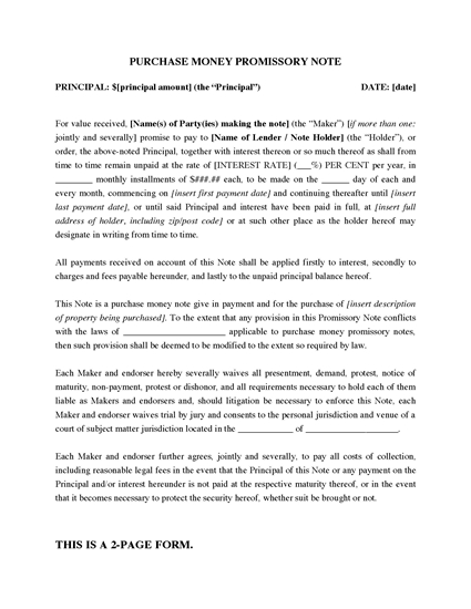 Picture of Purchase Money Promissory Note for Real Estate Purchase