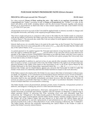 Picture of Purchase Money Promissory Note for Employee Share Purchase