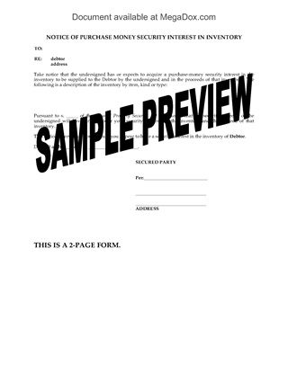 Picture of Notice of Purchase Money Security Interest | Canada