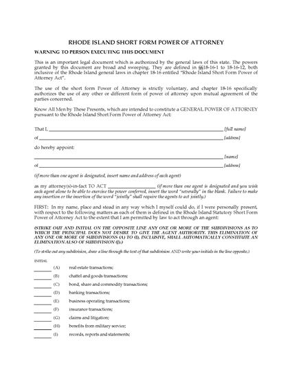 Picture of Rhode Island Short Form Power of Attorney