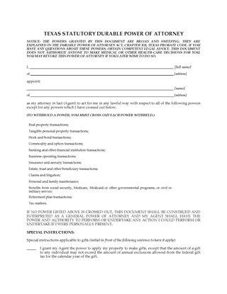 Picture of Texas Statutory Durable Power of Attorney