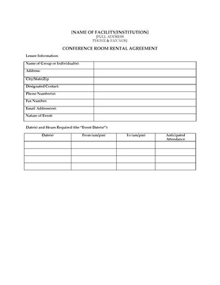 Picture of USA Conference Room Rental Agreement