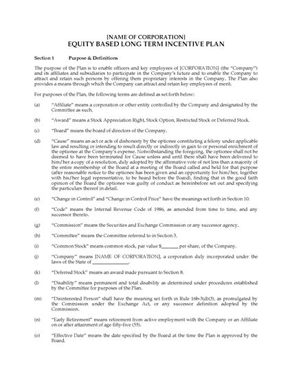 Usa Equity Based Long Term Incentive Plan Legal Forms And Business Templates