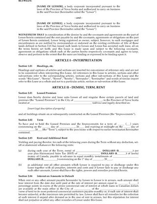 Picture of Nova Scotia Commercial Net Lease Agreement
