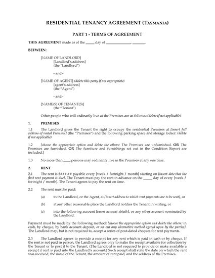 Picture of Tasmania Residential Tenancy Agreement