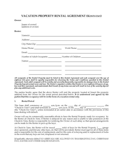 Picture of Kentucky Vacation Property Rental Agreement
