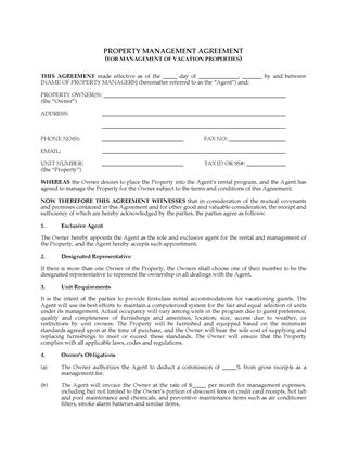 Picture of Property Management Agreement for Vacation Properties