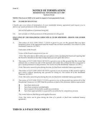Picture of Western Australia Notice of Termination of Tenancy