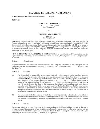 Picture of USA Term Loan Agreement for Stock Purchase Assistance Plan