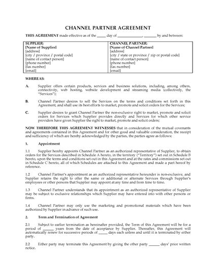 Picture of Channel Partner Agreement | Canada
