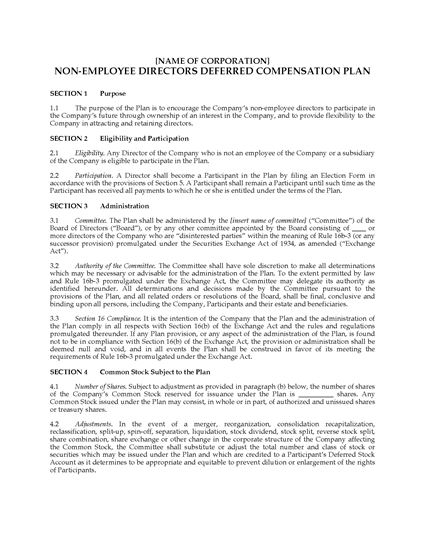 Picture of USA Deferred Compensation Plan for Outside Directors