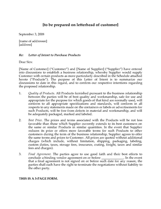 Picture of Letter of Intent to Purchase Products