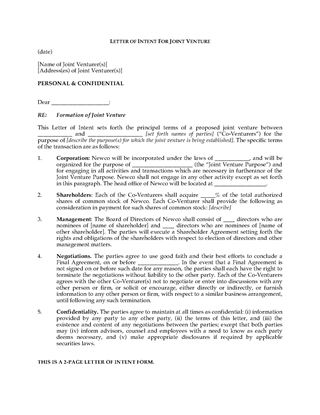 Picture of Letter of Intent to Form Joint Venture